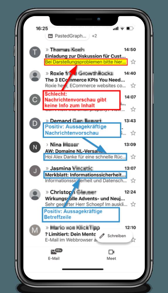 Ansprechende Nachrichtenvorschau und Betreffzeile E-Mail Kampagne