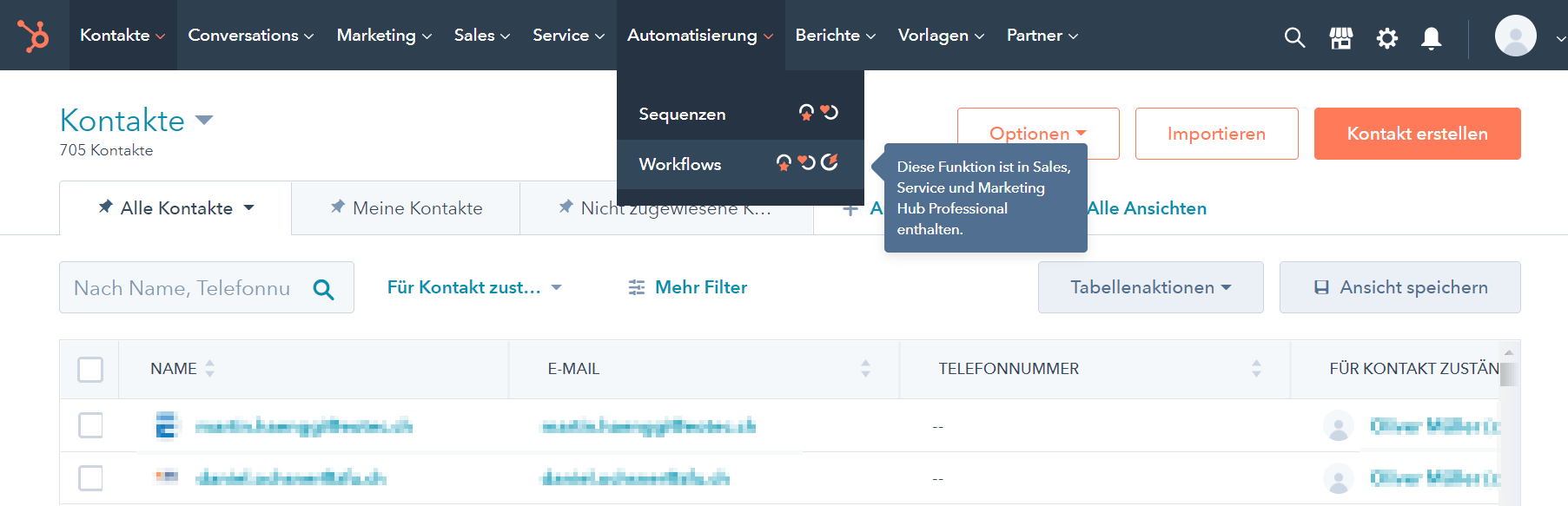 Hubspot teuer sobald Automation Workflows